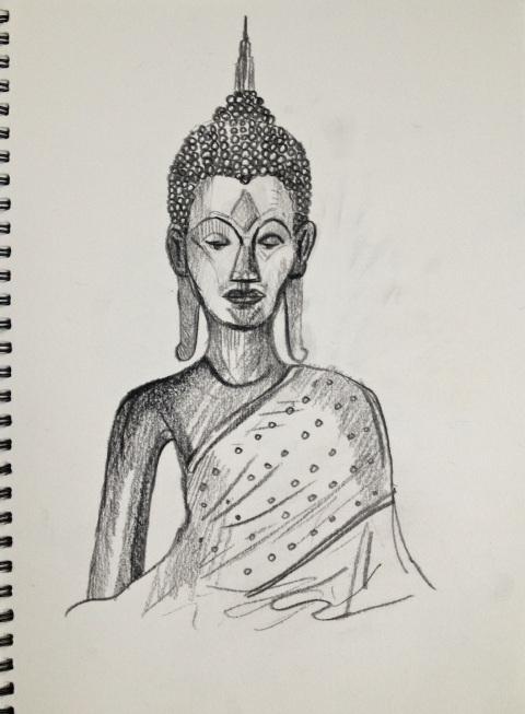 Golden Buddha, Chiang Mai, Thailand, Graphite on Paper, 2011