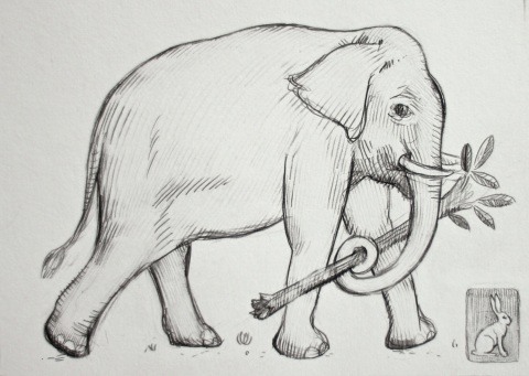 Sketchbook drawing of an Asian Elephant carrying a branch - getting closer with this one!