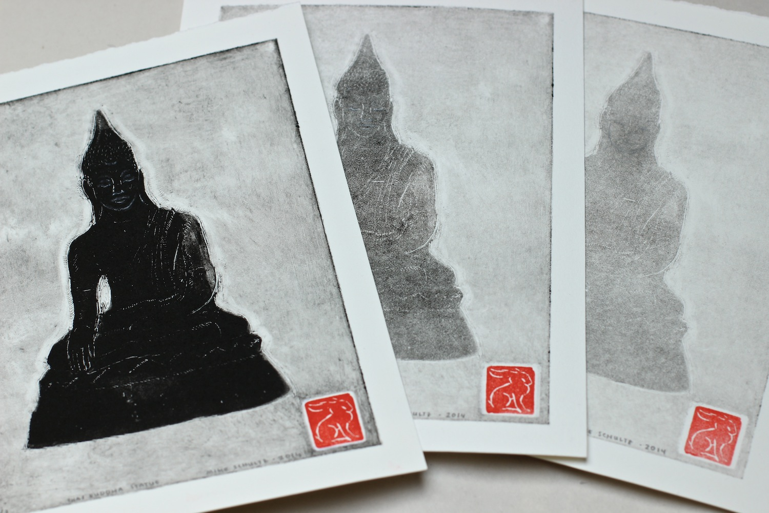 Thai Buddha statue monotype and two ghosts by Mike Schultz